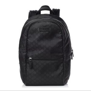 Gucci Nylon Monogram Slim Backpack Black